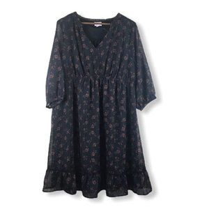 Isabel Maternity Flowy Black Floral Midi Dress NEW